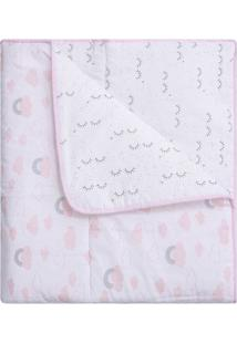 Edredom Dupla Face Para Mini Cama- Branco & Rosa- 11Papi