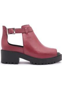 Ankle Boot Leruchel Fechada Couro Feminino - Feminino-Vinho