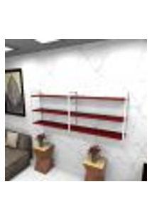 Estante Estilo Industrial Sala Aço Cor Branco 180X30X68Cm Cxlxa Cor Mdf Vermelho Modelo Ind32Vrsl