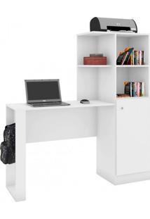 Escrivaninha 1 Porta 3 Nichos Califórnia Art In Móveis Branco