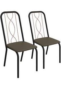 Kit 2 Cadeiras Viena Preto Fosco E Marrom 2C081Pfr-21 Kappesberg