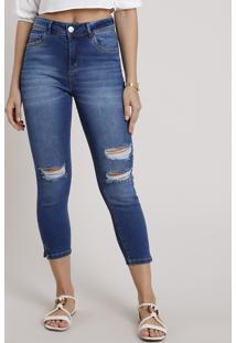 Calça Jeans Feminina Cropped Cintura Alta Destroyed Azul Médio