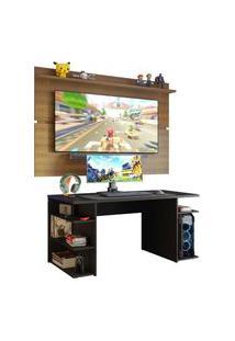 Mesa Gamer Madesa 9409 E Painel Para Tv Até 65 Polegadas - Preto/Rustic Preto