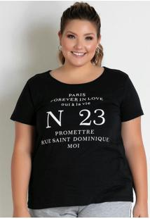 Blusa Preta Com Estampa Na Frente Plus Size