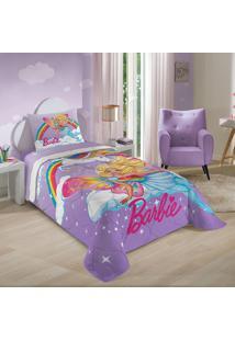 Edredom Solteiro Lepper 150X210Cm Estampado Barbie Reinos Mágicos