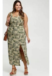 Vestido Feminino Longo Estampa Folhas Fenda Plus Size