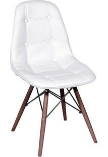 Cadeira Eames Botonê- Branca & Madeira Escura- 83X44Or Design