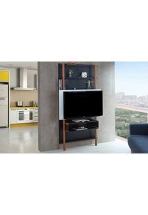 Painel Tv Quarto Preto Com Branco Home Suspenso Para Tv Até 42 Polegadas Com Rack Karl Woodinn - 99,8X25,5X180 Cm