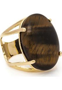Anel Banhado A Ouro Oval Olho De Tigre - Feminino-Marrom