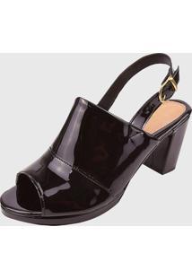Sandalia Elegance Salto Quadrado Preto - Preto - Feminino - Verniz - Dafiti