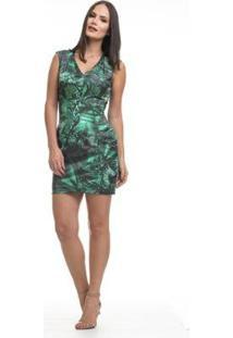 Vestido Clara Arruda Decote V Estampado Feminino - Feminino-Verde Escuro