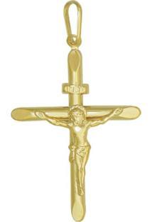 Pingente Prata Mil Cruz Estampada Com Cristo Dourado