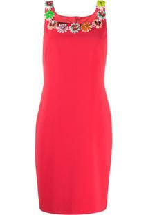 Boutique Moschino Vestido Reto Com Bordado Floral - Rosa