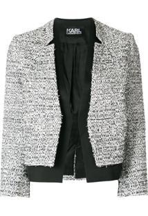 Karl Lagerfeld Blazer De Tweed Com Barra De Cetim - Preto