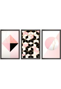 Quadro Oppen House 60X120Cm Abstrato Escandinavo Coloridos Geométrico Triangulos Moldura Preta Sem Vidro Mod: Oh5712