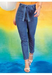 Calça Mom Jeans Com Pregas E Faixa Sawary