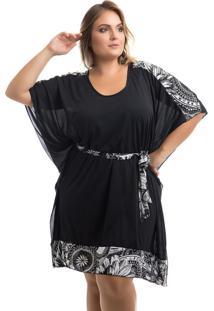 Vestido Kaftan Plus Size Preto