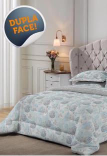 Edredom Malha King Size Estampado Lille 2,60 M X 2,80 M Com 1 Peça Lepper Azul