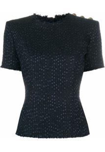 Balmain Blusa De Tweed Com Detalhe De Botões - Azul