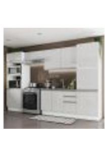 Cozinha Completa Madesa 100% Mdf Acordes 2 Gavetas 11 Portas Branco Brilho (Sem Tampo E Pia)