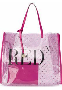 Redvalentino Bolsa Tote Pointote Com Logo - Rosa