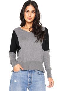 Blusa Calvin Klein Jeans Tricot Recortes Cinza/Preta