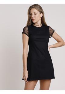 Vestido Feminino Curto Em Tule Estampado De Poá Manga Curta Preto