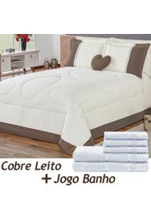 Kit 11 Peças Combo Cobre Leito C/ Almofada Jogo De Banho Amore Tabaco Queen Percal 180 Fios