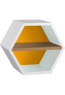 Nicho Hexagonal Favo Ii Com Prateleira Branco Com Amarelo E Marrom Médio