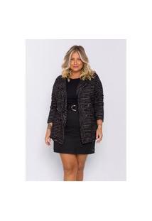 Blazer Plus Size Feminino Lisamour Tweed Preto