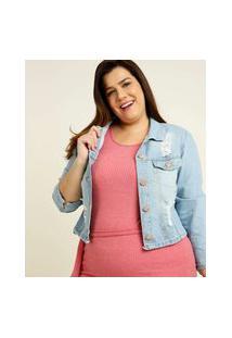Jaqueta Plus Size Feminina Jeans Destroyed Razon