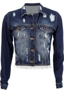 Jaqueta Jeans Tyn Destroyd Feminina - Feminino-Azul