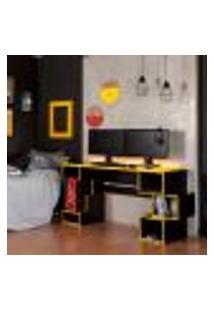 Mesa Gamer Com Led Blocks Preta E Amarela