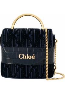 Chloé Bolsa Mini Com Estampa Abstrata - Azul