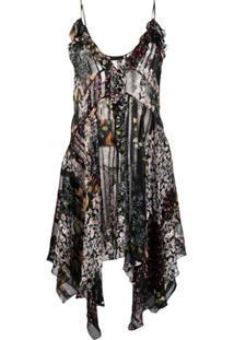 Etro Vestido Translúcido Com Estampa Floral - Preto