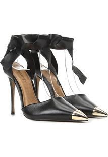Scarpin Couro Carrano Chanel Com Amarração - Feminino-Preto