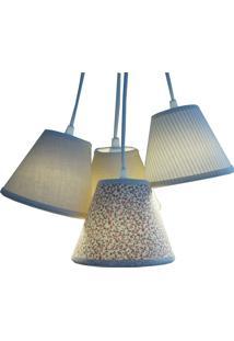 Luminária Cacho Estampado 4 Cúpulas Crie Casa Bege