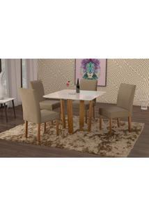 Conjunto De Mesa De Jantar Com 4 Cadeiras E Tampo De Madeira Maciça Valencia Iii Suede Marrom Médio E Off White