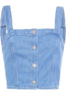 Blusa Feminina Cropped - Azul