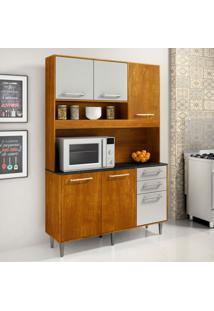 Cozinha Compacta Ágata 6 Pt 2 Gv Caramelo E Off White