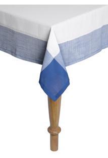 Toalha De Mesa Retangular Naturalle Chamonix Branco E Azul 1,8Mx2,8M