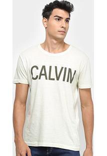 Camiseta Calvin Klein Estampa Peito Masculina - Masculino-Areia