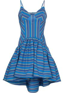 Rosie Assoulin Vestido Evasê Listrado - Azul