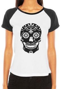 Camiseta Raglan Criativa Urbana Caveira Mexicana Florida Flores No Queixo Tribal Tattoo - Feminino-Branco