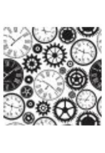 Papel De Parede Relógio E Engrenagens Para Sala Escritório Modelo 2