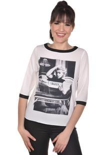 Blusa Manga Longa Banca Fashion Casual Chique Off-White