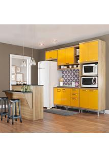 Cozinha Compacta Sem Tampo 11 Portas 3 Gavetas 5843 Argila/Amarelo - Multimóveis