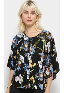 Camisa Top Moda Manga Curta Babado Estampa Floral Feminina - Feminino-Preto