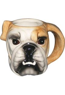 Caneca Fun Bulldog- Branca & Bege- 49X34X37Cm- 5Full Fit