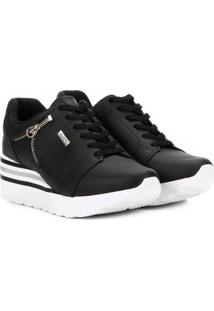 Tênis Kolosh Sneaker Anabela Zíper Lateral Feminina - Feminino-Preto